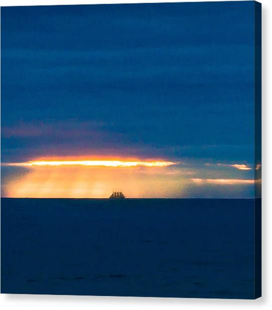 Ship On The Horizon Canvas Print