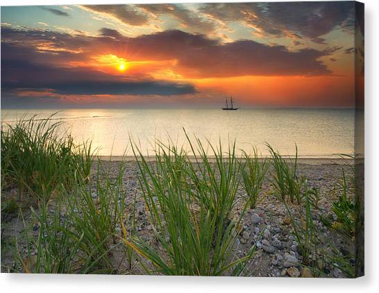 Marthas Vineyard Canvas Print - Ship Passing Through by Darylann Leonard Photography