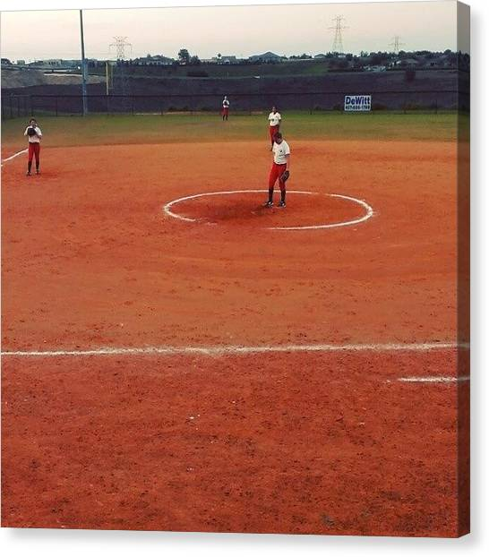 Softball Canvas Print - #shippensburg #pitching #ntc #clermont by Gary W Norman
