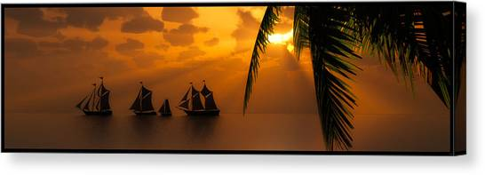 Ships And The Golden Dawn... Canvas Print