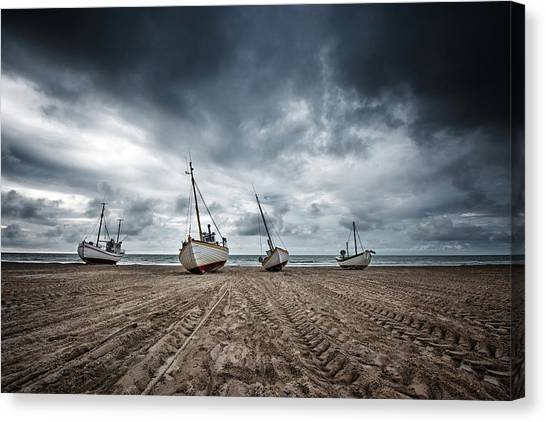 Low Tide Canvas Print - Ships by Fotomarion