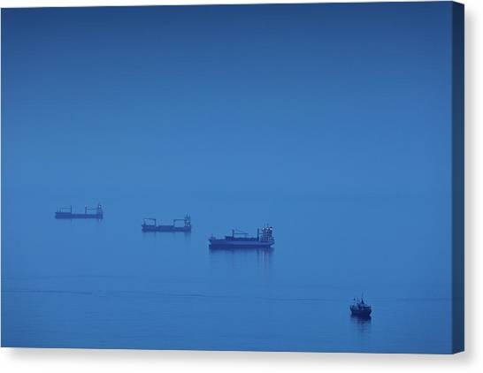 Andalusia Canvas Print - Ships In The Sea, Malaga, Andalusia by Panoramic Images