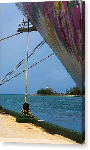 Ship's Ropes And Lighthouse Canvas Print