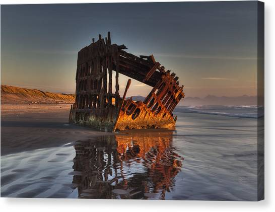 Peter Iredale Canvas Print - Shipwreck At Sunset by Mark Kiver