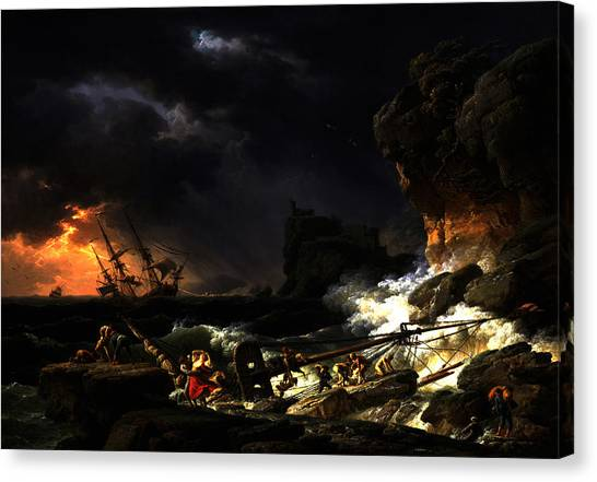Shipwreck In A Thunderstorm Canvas Print