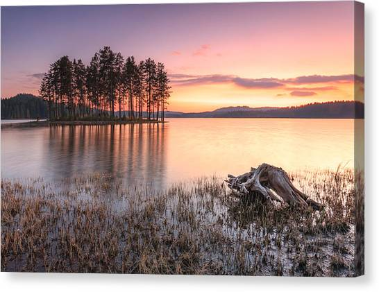 Islands Canvas Print - Shiroka Polyana Lake  by Evgeni Dinev