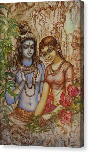 Tantra Canvas Print - Shiva And Parvati by Vrindavan Das