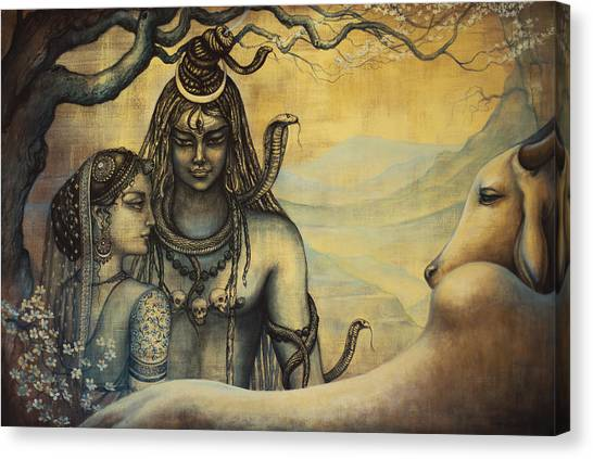 Om Canvas Print - Shiva Parvati . Spring In Himalayas by Vrindavan Das
