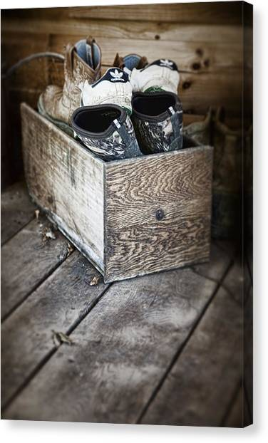 Cowboy Boots Canvas Print - Shoebox Still Life by Tom Mc Nemar