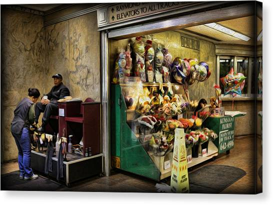 Shoeshine On A Sunday Canvas Print by Lee Dos Santos