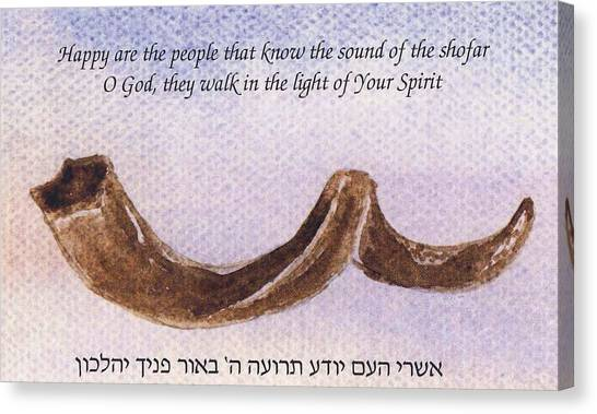 Canvas Print featuring the painting Shofar With Verse by Linda Feinberg