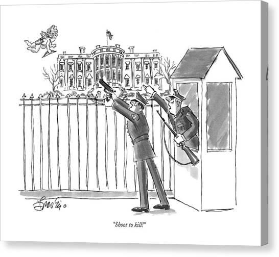Cartoonist Canvas Print - Shoot To Kill! by Edward Frascino
