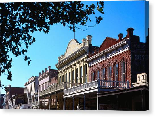 Shop Fronts In Old Sacramento - Canvas Print