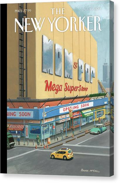 Mom And Pop Mega Superstore Canvas Print by Bruce McCall
