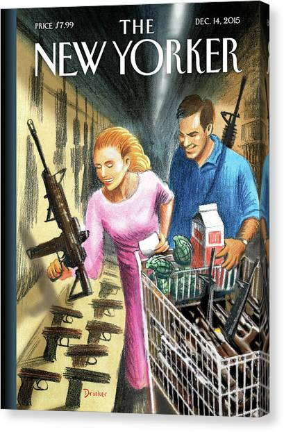 Nra Canvas Print - Shopping Days by Eric Drooker