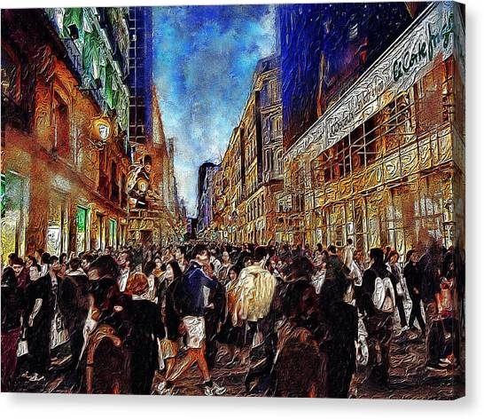 Shopping Madness Canvas Print by Cary Shapiro