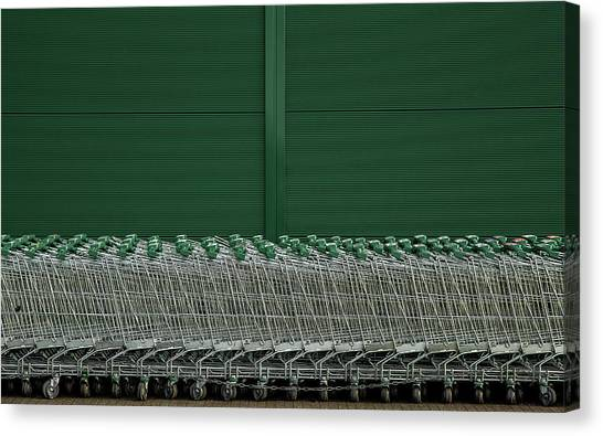 Carts Canvas Print - Shopping Trolleys by Inge Schuster