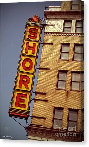 Cyclones Canvas Print - Shore Building Sign - Coney Island by Jim Zahniser