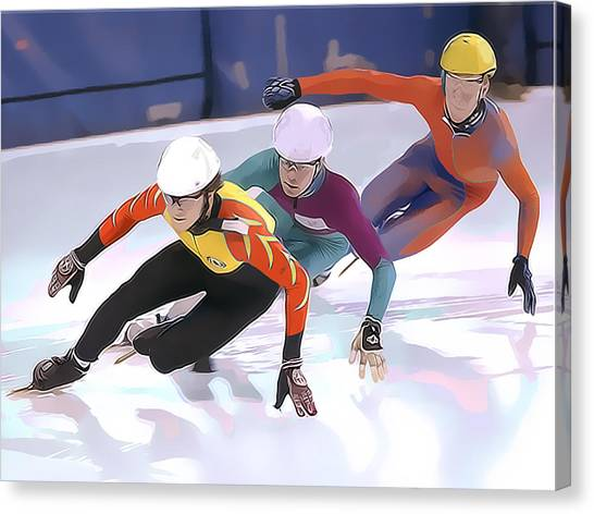 Speed Skating Canvas Print - Short Track Speed Skaters by Elaine Plesser