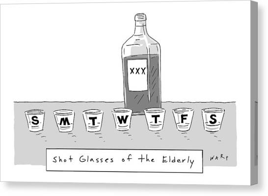 Pill Canvas Print - Shot Glasses Of The Elderly -- A Series Of Shot by Kim Warp