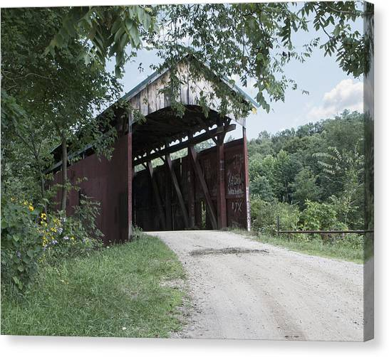 Girl Scouts Canvas Print - Shoults/girl Scout Camp Covered Bridge by Phyllis Taylor