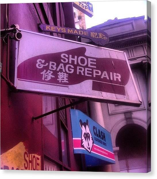 Repairs Canvas Print - Show And Bag Repair #cobbler #shoe #bag by Lynn Friedman