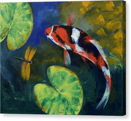 Koi Canvas Print - Showa Koi And Dragonfly by Michael Creese