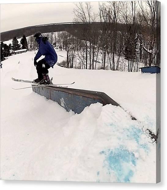 Freestyle Canvas Print - Shredding Trparks #nofilter #gopro #ski by Dylan Lunsford