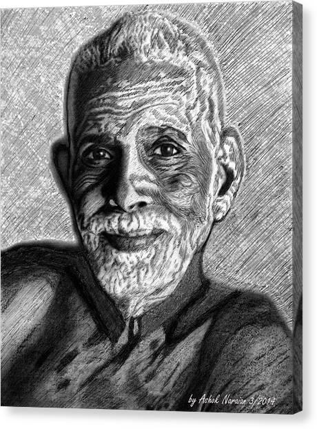Ballpoint Pens Canvas Print - Shri Ramana With Ballpoint Pen by Ashok Naraian