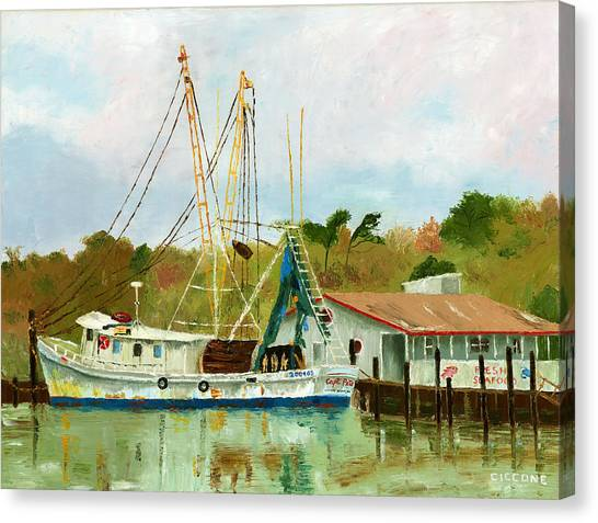 Shrimp Boat At Dock Canvas Print