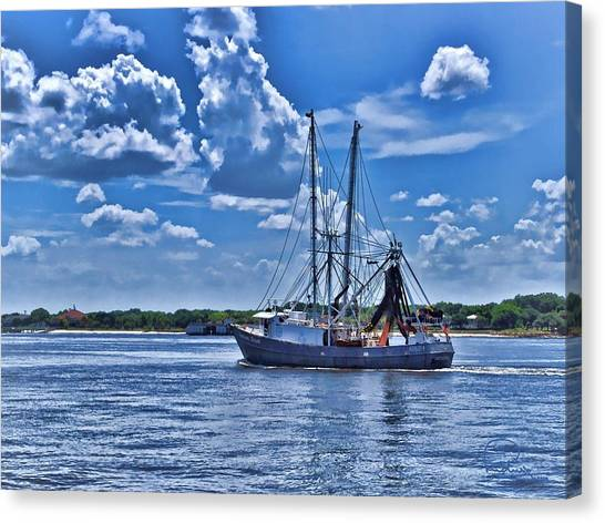 Shrimp Boat Heading To Sea Canvas Print