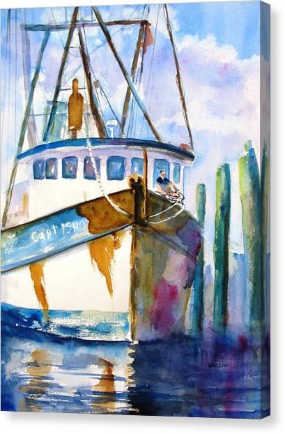 Shrimp Boats Canvas Print - Shrimp Boat Isra by Carlin Blahnik CarlinArtWatercolor