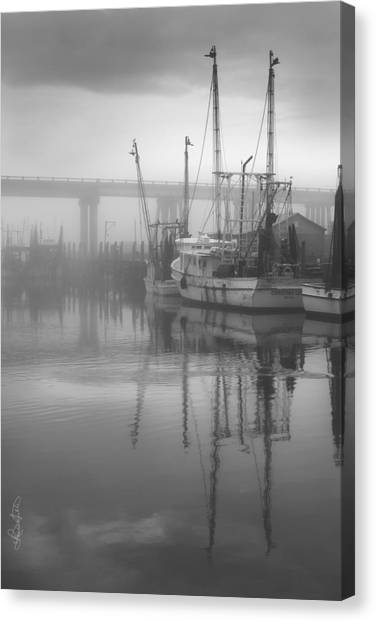 Shrimp Boats In The Fog - Black And White Canvas Print