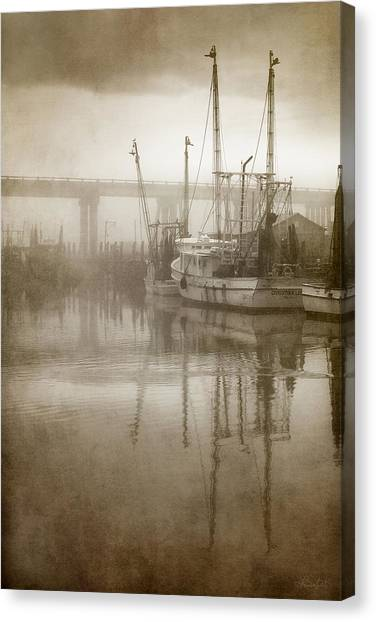 Shrimp Boats In The Fog Canvas Print