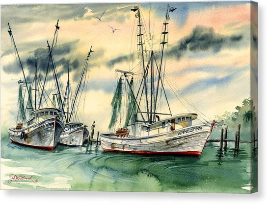 Shrimp Boats In The Keys Canvas Print