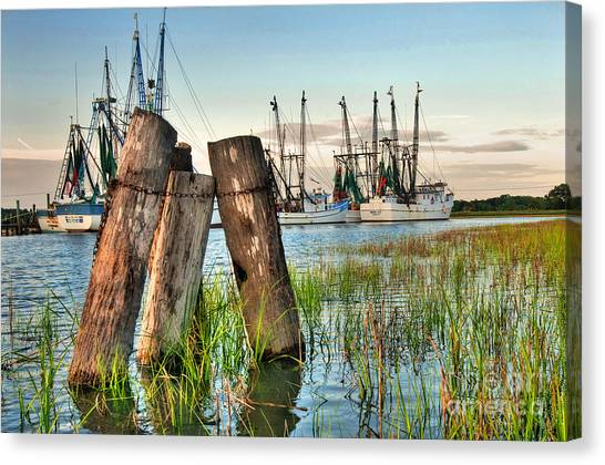 Crabbing Canvas Print - Shrimp Dock Pilings by Scott Hansen