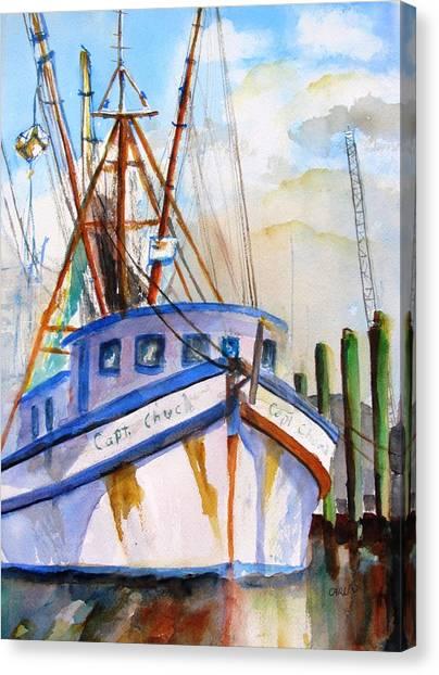 Shrimp Boats Canvas Print - Shrimp Fishing Boat by Carlin Blahnik CarlinArtWatercolor