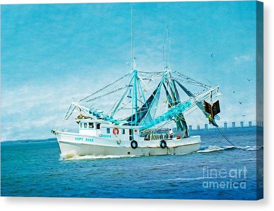Shrimping Canvas Print - Shrimp Trawler by Laura D Young