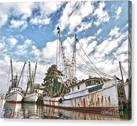 Shrimpers At Rest Canvas Print