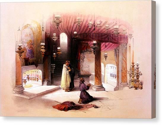 Shrine Of The Nativity Bethlehem April 6th 1839 Canvas Print
