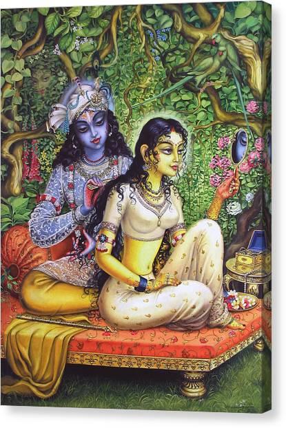 Temple Canvas Print - Shringar Lila by Vrindavan Das