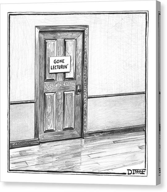 Professors Canvas Print - Shut Door In A Hallway With A Sign That Read Gone by Matthew Diffee