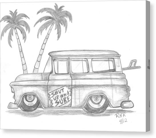 Surfboard Canvas Print - Shut Up And Surf  Window  Wagon by Ray Ratzlaff