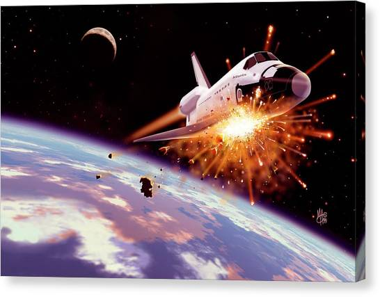 Space Shuttle Canvas Print - Shuttle Collision by Mark Garlick/science Photo Library