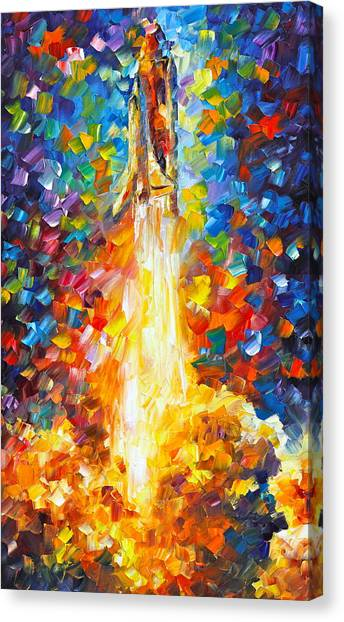 Space Shuttle Canvas Print - Shuttle Discovery  by Leonid Afremov