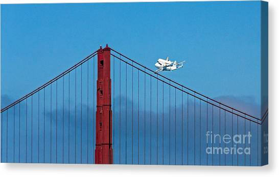 Canvas Print featuring the photograph Shuttle Endeavour At The Golden Gate by Kate Brown