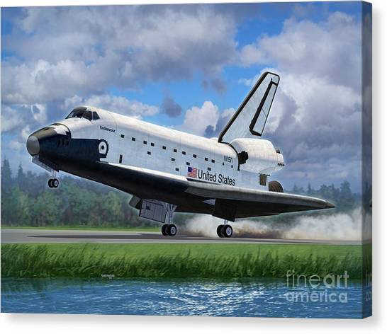 Space Ships Canvas Print - Shuttle Endeavour Touchdown by Stu Shepherd