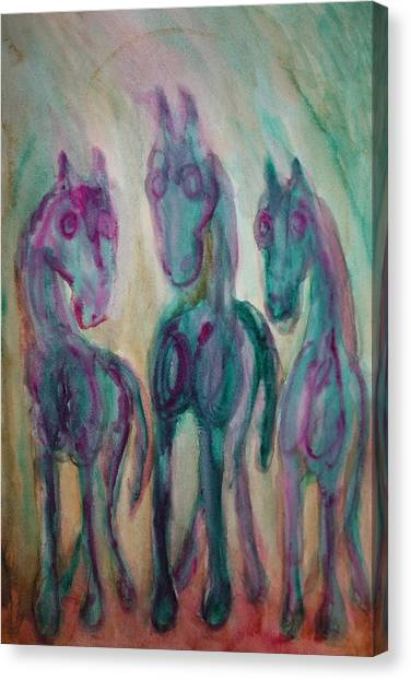 Occur Canvas Print - Green Horses Are Shy But Curious  by Hilde Widerberg
