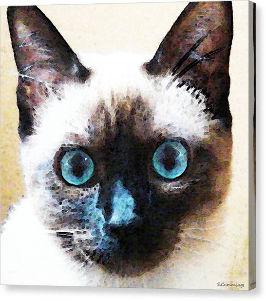 Siamese Canvas Print - Siamese Cat Art - Black And Tan by Sharon Cummings