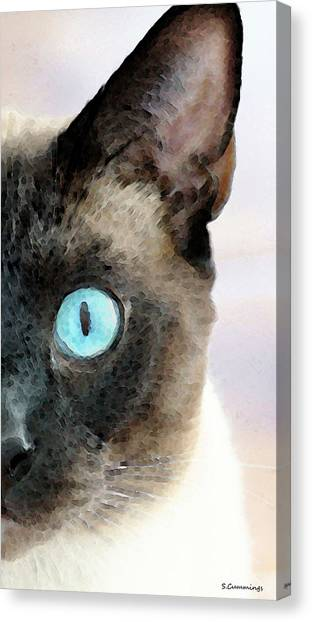Siamese Canvas Print - Siamese Cat Art - Half The Story by Sharon Cummings